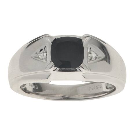 Gems For You Sterling Silver Men's Black Onyx and Diamond Accent Ring
