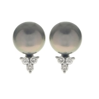 Pearls For You 14K White Gold Tahitian Pearl and Diamond Stud Earrings