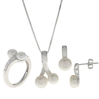 Pearls For You White Sterling Silver, Freshwater Pearl Diamond Pendant, Ring and Earring Set