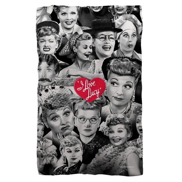 I Love Lucy/Faces Fleece Blanket in White