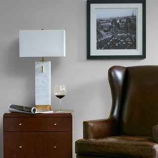 Madison Park Bringham White/ Gold Large Table Lamp