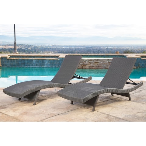 Abbyson Palermo Outdoor Grey Wicker Chaise Lounge (Set of 2)
