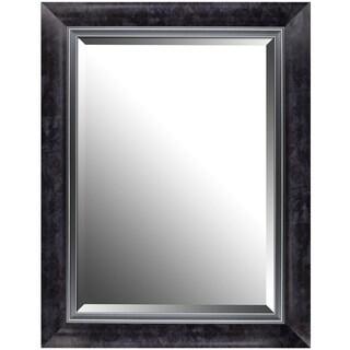 Hobbitholeco Black Aluminum 27.25-inch x 35.25-inch Marble-style Framed Beveled Mirror
