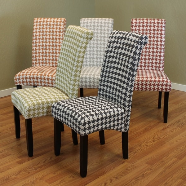 Milan Wood And Linen Houndstooth Dining Chairs Set Of 2