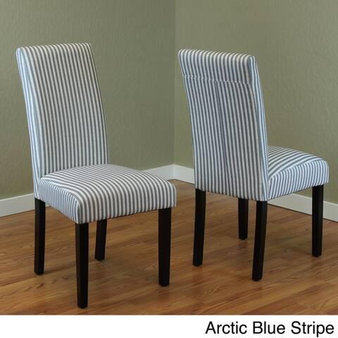 Villa Set of 2 Stripe Linen Dining Chairs