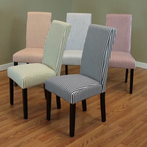 Villa Striped Linen Parsons Dining Chairs (Set of 2)