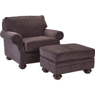 Broyhill Heuer Dark Mauve Chair and Ottoman Set