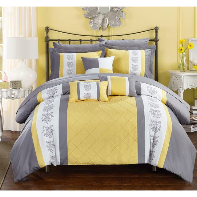 Chic Home Dalton Yellow 10-Piece Bed in a Bag with Sheet Set
