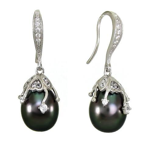 DaVonna Sterling Silver 10-10.5mm Black Off-shape Tahitian Pearl Drop Earrings