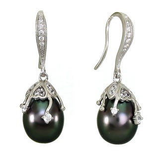 DaVonna Sterling Silver Earwire with 0.56tcw CZ and 10-11mm Tahitian Pearls Earrings
