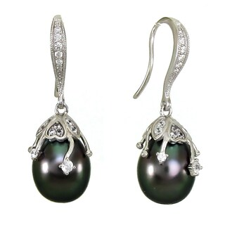 DaVonna Sterling Silver Tahitian Pearl Drop Earrings (10-11mm)
