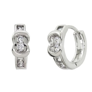 Eternally Haute Pave Buckle Huggie Hoop Earrings
