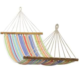 Multi-stripe Cotton Fabric Hammock (3' x 11')|https://ak1.ostkcdn.com/images/products/12246572/P19088799.jpg?impolicy=medium