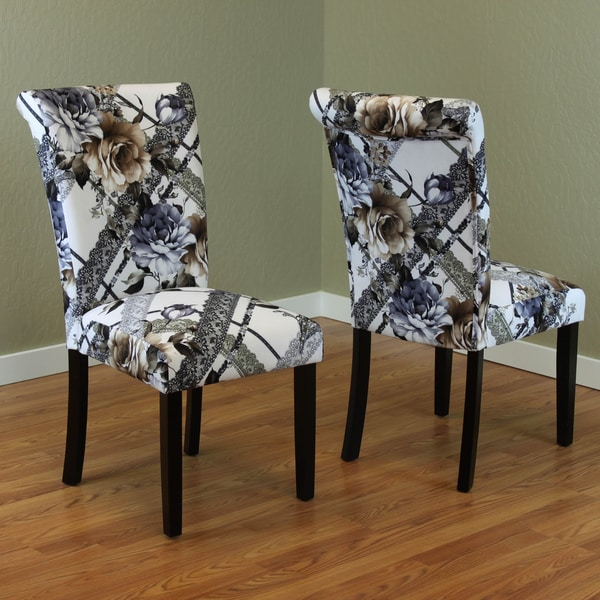 Black White Floral Dining Side Chair Set: Voyage Flower Print Dining Chairs (Set Of 2)