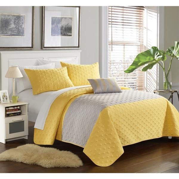 Chic Home Walker Yellow 4-Piece Quilt Set