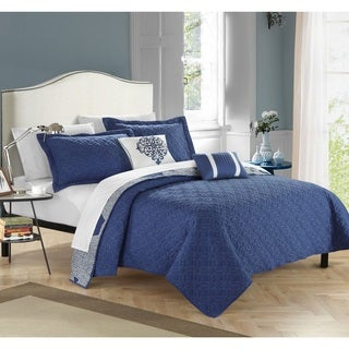 Chic Home Pandora Navy 5-piece Quilt Set