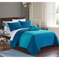 Porch & Den Highland Teal 4-piece Quilt Set