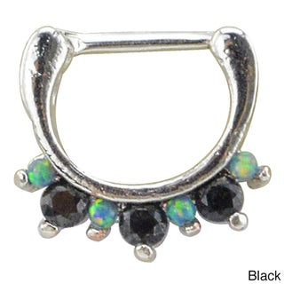 Supreme Jewelry Surgical Steel Septum Clicker with Opal and Gemstones