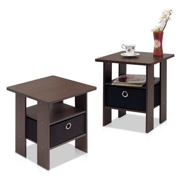 Furinno Jaya Oval Coffee Table: Furinno 11157 End Table/Nightstand