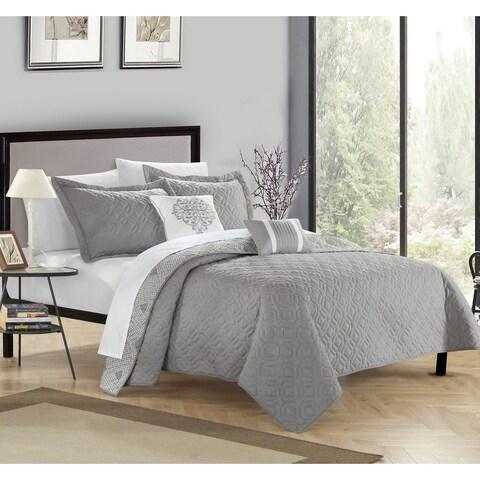 Chic Home Pandora Grey 5-piece Quilt Set