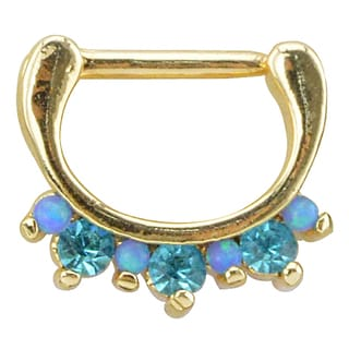 Supreme Jewelry Anodized Goldtone Septum Clicker with Opal and Gemstones