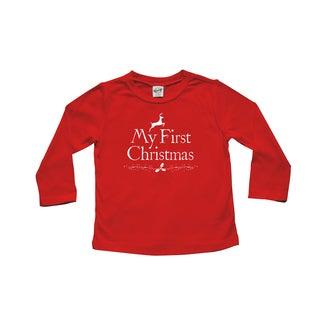 Rocket Bug 'My First Christmas' Baby Cotton Long Sleeve Shirt