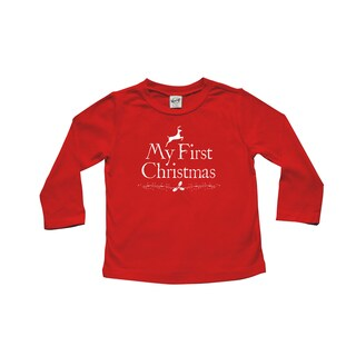 Rocket Bug 'My First Christmas' Baby Cotton Long Sleeve Shirt
