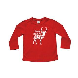 Rocket Bug 'Happy Holidays' Deer Cotton Long Sleeve Shirt