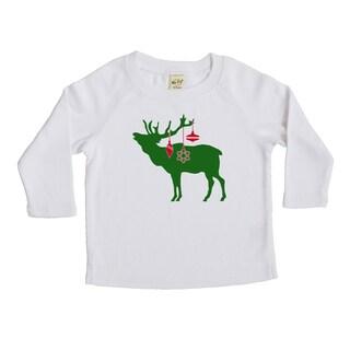 Rocket Bug Festive Elk Christmas Cotton Long Sleeve Shirt