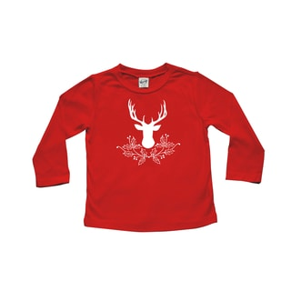 Rocket Bug Deer with Holly Christmas Cotton Long Sleeve Shirt