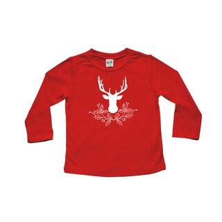 Rocket Bug Deer with Holly Christmas Cotton Long Sleeve Shirt