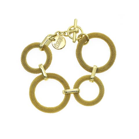 Isla Simone - 18k Gold Plated Woven Ring Bracelet