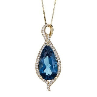 Anika and August 14K Yellow Gold London Blue Topaz and Diamond Pendant