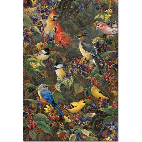 WGI Gallery Wood Print Berry Bush Songbirds Wall Art