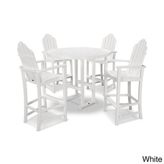 POLYWOOD Kahala 5 Piece Adirondack Chair Bar Dining Set