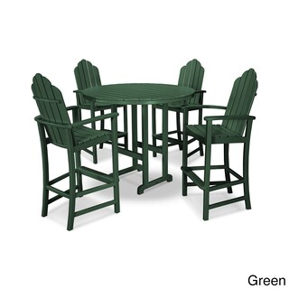 POLYWOOD Kahala 5 Piece Adirondack Grey Plastic Bar Dining Set (3 options available)