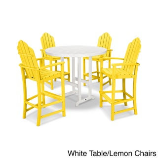 POLYWOOD Kahala 5 Piece Adirondack Chair Bar Dining Set