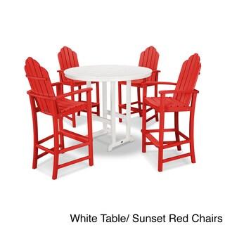 POLYWOOD Kahala 5 Piece Adirondack Grey Plastic Bar Dining Set (Option: Red/White - Plastic)