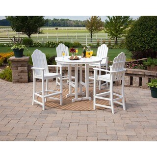 POLYWOOD Kahala 5 Piece Adirondack Grey Plastic Bar Dining Set