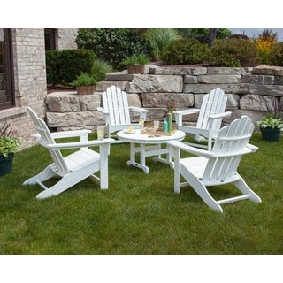 Polywood Kahala 5-piece Adirondack Conversation Set with Round Table