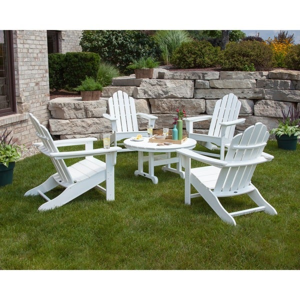 Polywood Kahala 5 Piece Adirondack Chair Conversation Set With Round Table