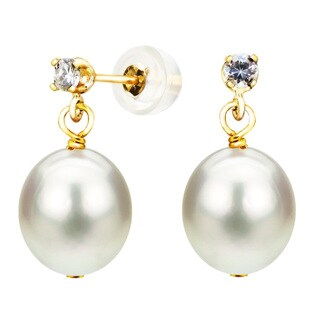DaVonna 14k Yellow Gold 8-8.5mm White Cultured Freshwater Pearl 0.10tcw CZ Stud Earrings