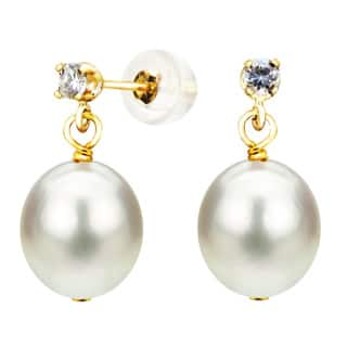 Davonna 14k Yellow Gold 8 5mm White Cultured Freshwater Pearl 0 10tcw Cz Stud