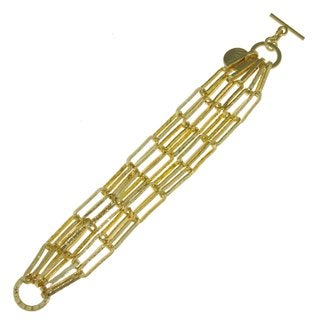 Isla Simone - 18k Goldplated Chased Anchor-Link Chain Bracelet With Toggle
