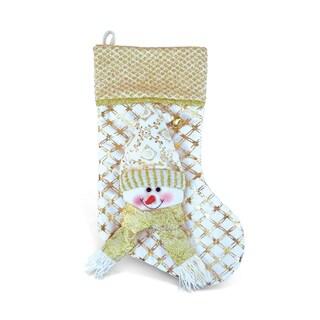 Golden Snowman Stocking