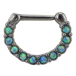 Supreme Jewelry Black Anodized Septum Clicker with Opal and Gem Stones