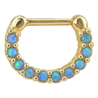 Supreme Jewelry Goldtone Anodized Septum Clicker with Opal and Gemstones