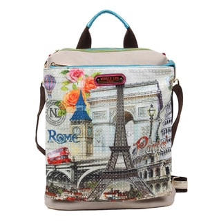 Nicole Lee Europe Print Nylon/Synthetic Leather Convertible Backpack