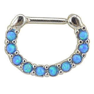 Supreme Jewelry Silver Septum Clicker with Opal and Gem Stones
