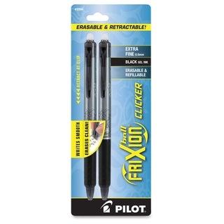 FriXion Clicker Erasable Gel Ink Pen. 2 - Pack - Black (2/Pack)